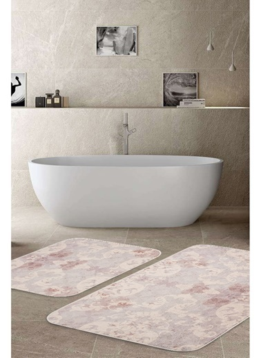 Hamur Elegance 2 'li Set Banyo Paspası Kaymaz Taban Banyo Halısı Lila